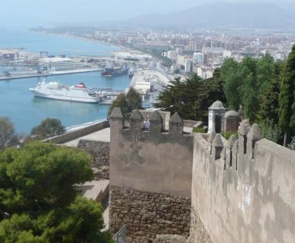 Málaga, Castillo Gibralfaro - Hafenausblick
